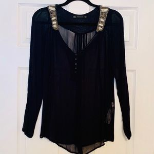 Zara Tops - Zara Navy Blouse with beaded neckline